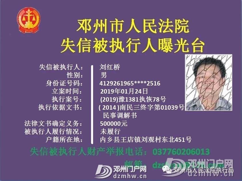 【曝光】邓州2019年第一批失信被执行人名单公布,快看有你认识的吗? - 邓州门户网|邓州网 - f507f6ccbb29680c36f65a4653b11c9c.jpg
