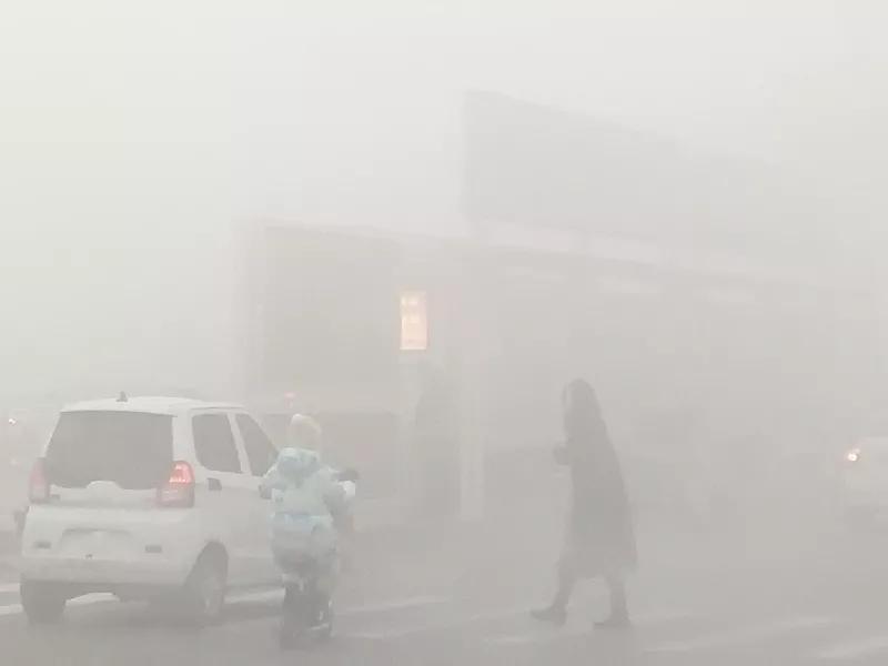 邓州雾太大了,造成刁河店这出车祸了!!
