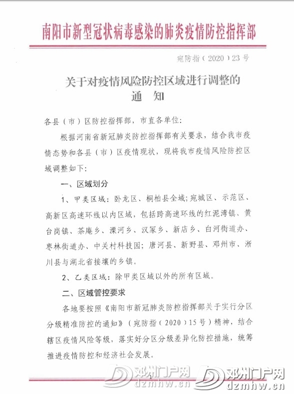 南阳发布23号通告!关于对疫情风险防控区域进行调整的通知! - 邓州门户网 邓州网 - b8d85020ff69c104d80b9fe74a1d3059.jpg