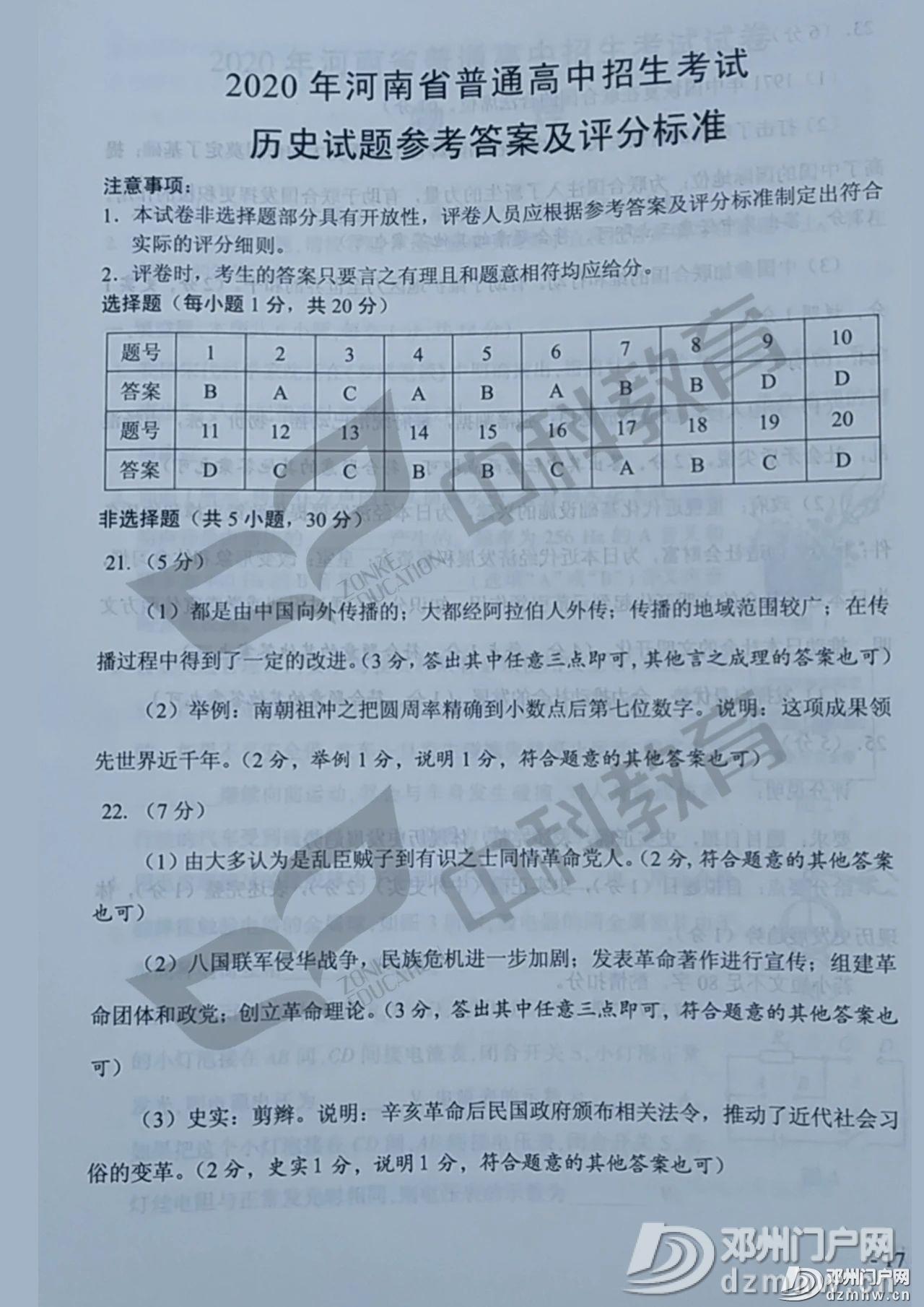最新!邓州2020年中招各科试题及答案公布,请转发给身边的初三学生家长! - 邓州门户网|邓州网 - 7af6edcacd44ce9c667812e761a6cdfa.jpg