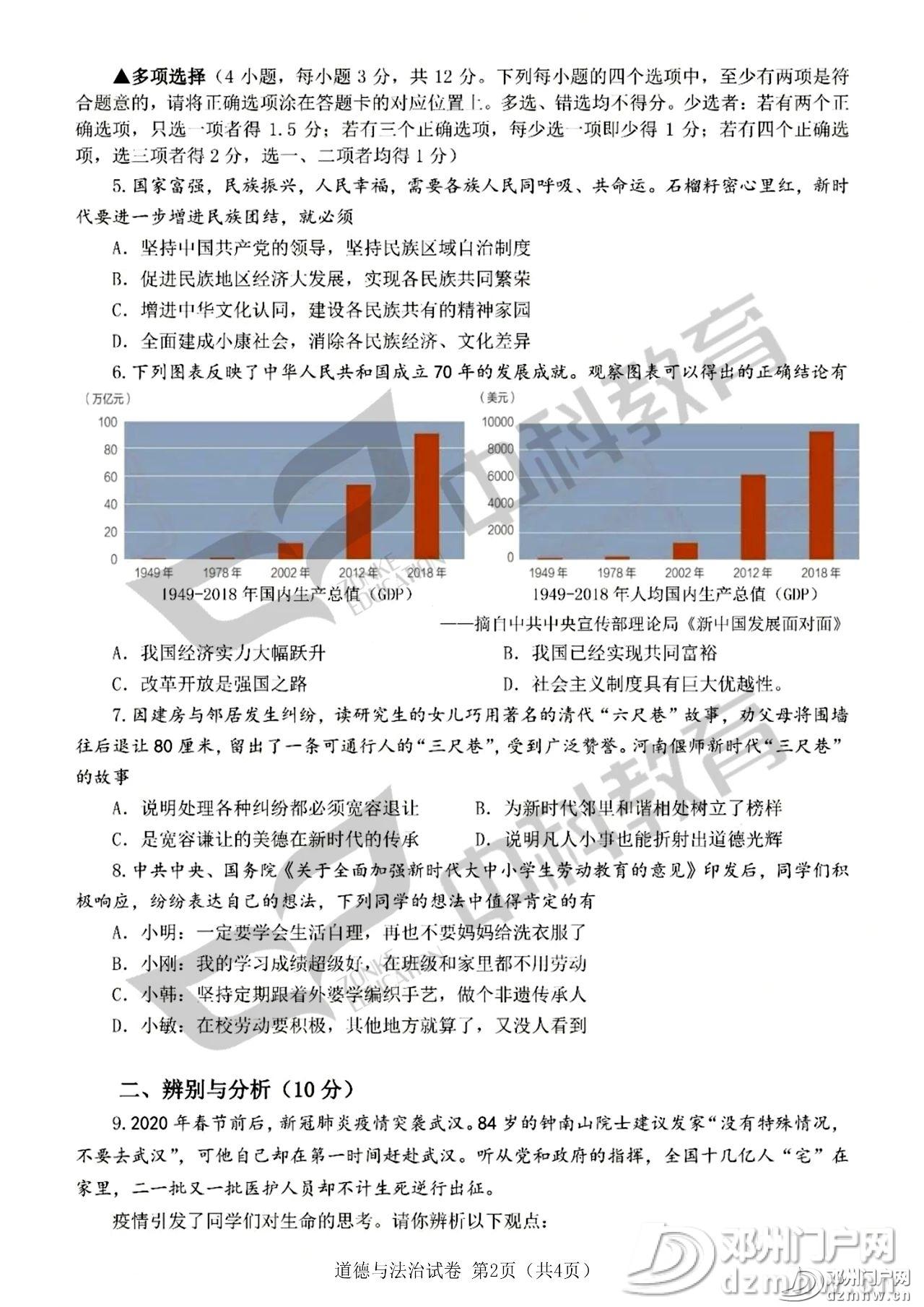 最新!邓州2020年中招各科试题及答案公布,请转发给身边的初三学生家长! - 邓州门户网|邓州网 - 0fa3784b6c98d71ac30874f55044e14c.jpg