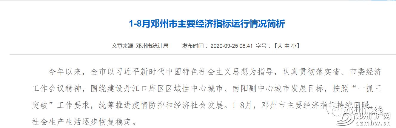 邓州经济回暖!1-8月主要经济指标运行情况简报出炉! - 邓州门户网 邓州网 - 1a1353f65883f03c5c6dabd4b563bd61.png